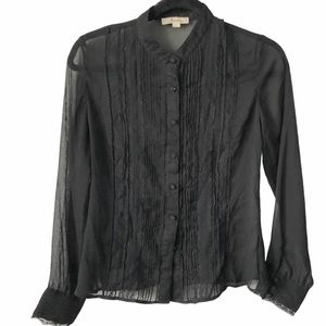 Jessica Lacy Sheer Black Dressy Elegant Blouse 8P